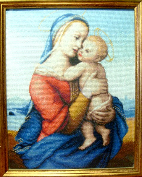 Вышивка мадонна и младенец 796